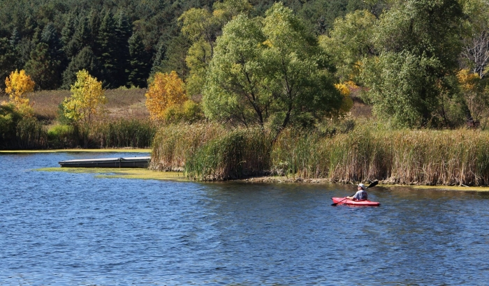 kayak is at Heinrich-Martin Dam near Adrian
